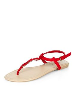 Red Woven Hoop Sandals | New Look