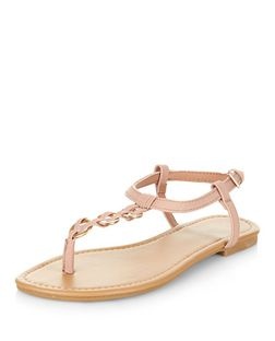 Shell Pink Woven Hoop Sandals | New Look