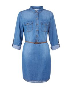 Blue Denim Roll Sleeve Shirt Dress  | New Look