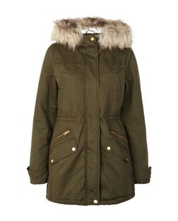 Khaki Faux Fur Trim Hooded Parka | New Look
