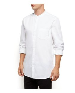 White Long Sleeve Grandad Collar Oxford Shirt | New Look