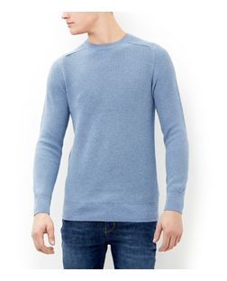 Light Blue Ribbed Jumper  | New Look