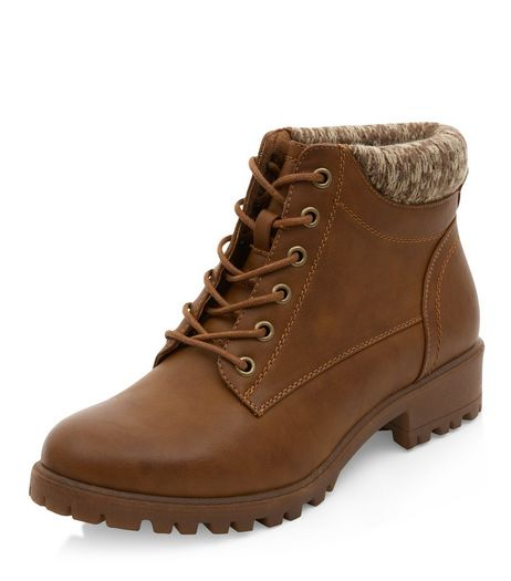 Wide Fit Tan Cuffed Lace Up Ankle Boots  | New Look
