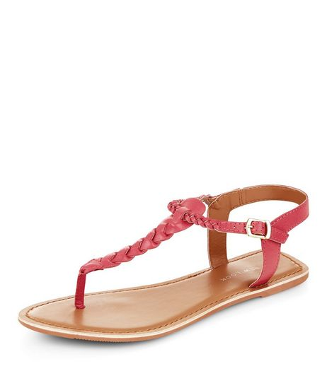 Wide Fit Bright Pink Leather Twist T-Bar Sandals  | New Look