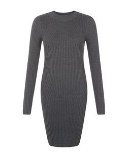Dark Grey Ribbed Long Sleeve Dress  | New Look