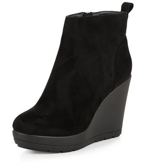 black suedette wedge boots