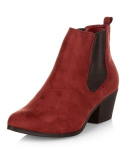 Dark Red Suedette Chelsea Boots | New Look