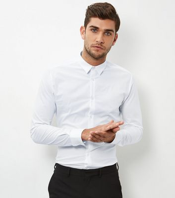 White Stretch Super Slim Fit Long Sleeve Shirt