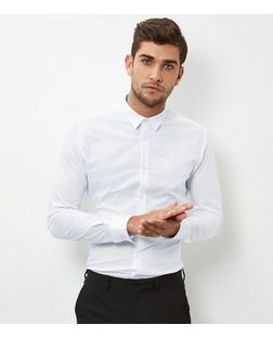 White Stretch Super Slim Fit Long Sleeve Shirt  | New Look