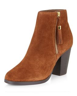 Tan Suede Tassel Side Zip Block Heel Boots  | New Look
