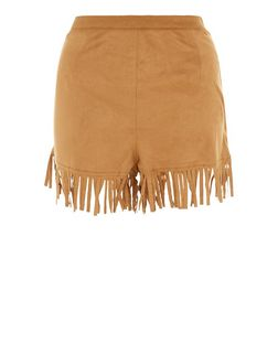 Tan Suedette Fringe Hem Shorts  | New Look