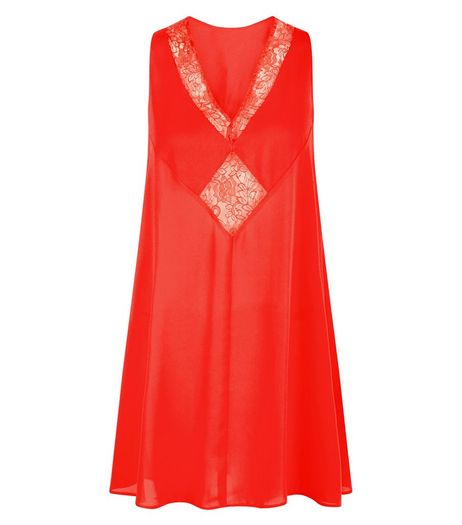 You Red Diamond Lace Front Sleeveless Dress  | New Look