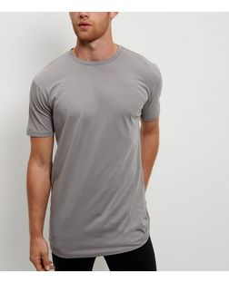 Grey Longline T-Shirt | New Look