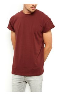 Brown Roll Sleeve T-Shirt  | New Look