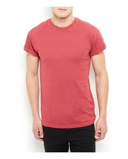 Dark Pink Roll Sleeve T-Shirt | New Look