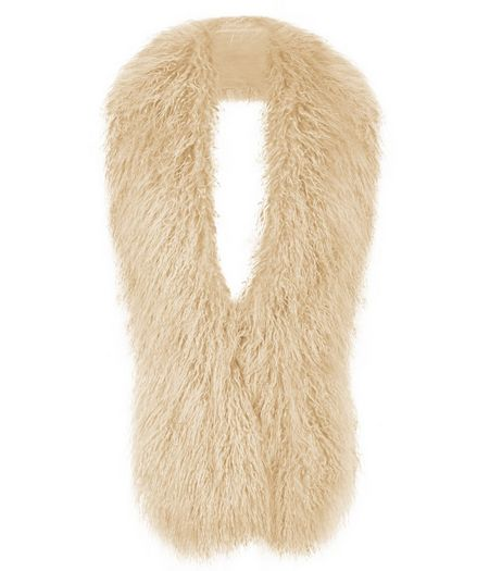 Stone Textured Faux Fur Stole | New Look