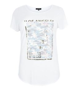 Curves White Los Angeles Holographic T-Shirt  | New Look