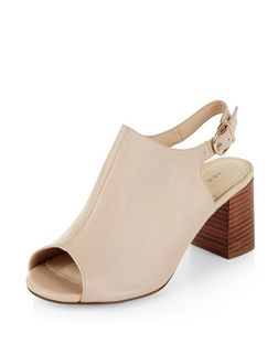 Pink Leather Comfort Peep Toe Sling Back Block Heels  | New Look
