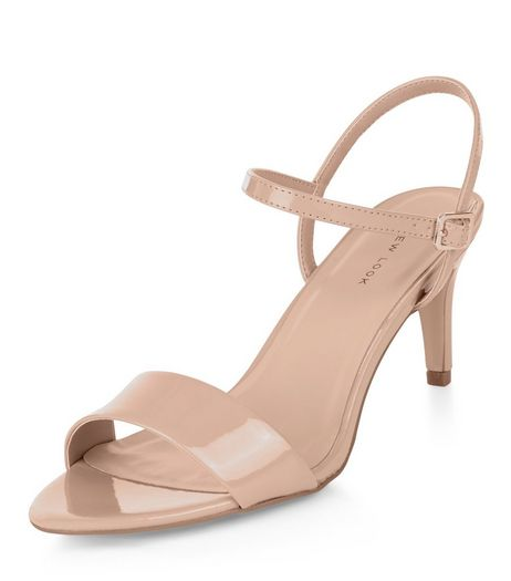 Stone Patent Ankle Strap Mid Heels  | New Look