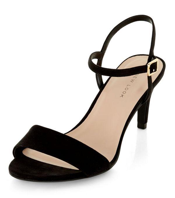 Black Ankle Strap Mid Heels
