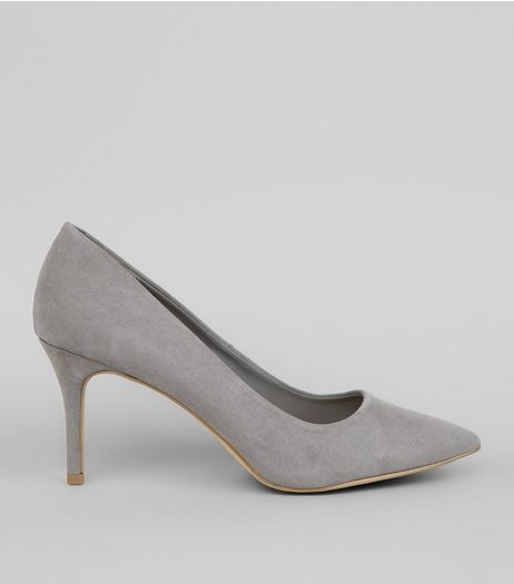 Grey Pointed Mid Heel Court Shoes  | New Look