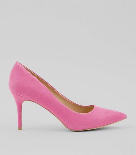 Bright Pink Pointed Mid Heel Court Shoes | New Look