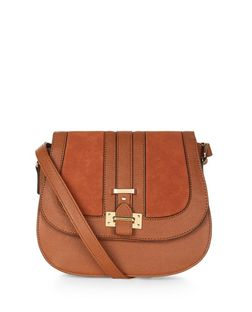 Tan Suedette Panel Saddle Bag  | New Look