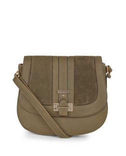 Khaki Suedette Panel Saddle Bag  | New Look