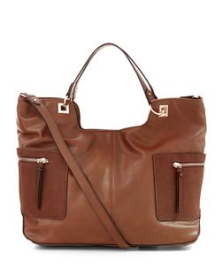 Brown Soft Side Pocket Tote Bag | New Look