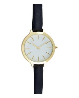 Blue Leather-Look Skinny Strap Watch | New Look