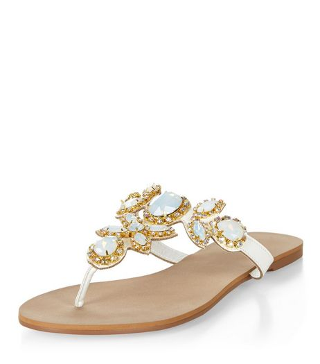 White Gem Stone Embellished Sandals  | New Look