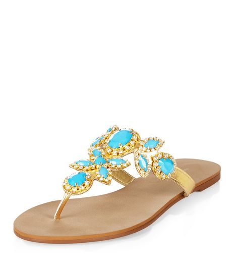 Turquoise Gem Stone Embellished Sandals  | New Look