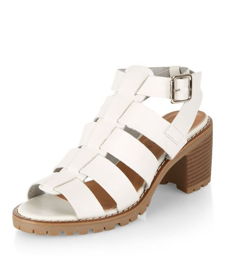 Teens White Gladiator Block Heel Sandals  | New Look