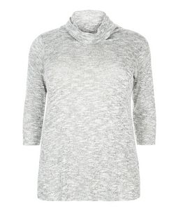 Curves Grey Fine Knit Cowl Neck 3/4 Sleeve Jumper  | New Look