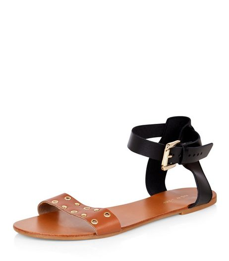 Tan Leather Contrast Eyelet Sandals  | New Look