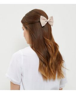 Pink Suedette Bow Hair Slide | New Look
