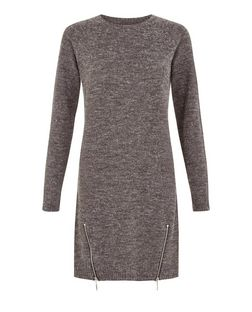Brave Soul Grey Zip Hem Longline Jumper | New Look