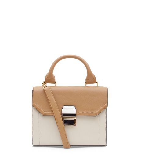 Tan and Cream Structured Bag  | New Look