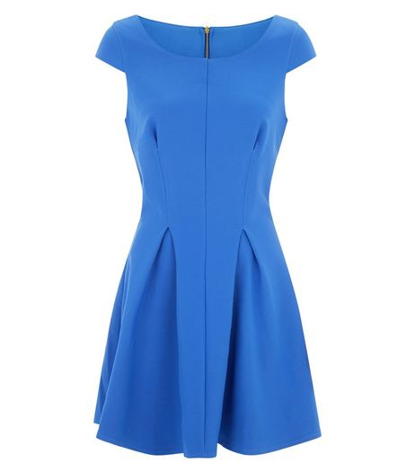 Closet Blue Pleated Skater Dress  | New Look