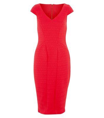 closet-red-textured-v-neck-midi-dress