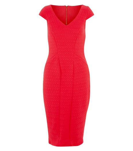 Closet Red Textured V Neck Midi Dress  | New Look