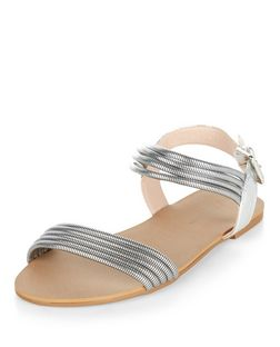 Wide Fit Silver Chain Two Part Sandals | New Look