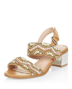 Tan Aztec Embellished Block Heel Sandals  | New Look