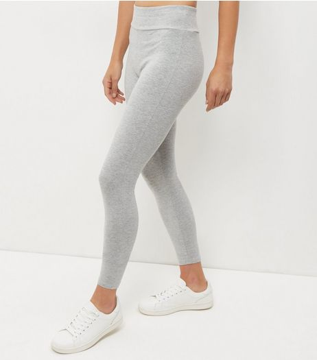 Pale Grey High Waisted Leggings  | New Look