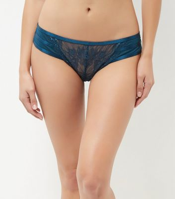 Blue Lace Stripe Detail Brazillian Briefs