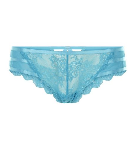 Turquoise Strappy Back Lace Brazilian Briefs  | New Look