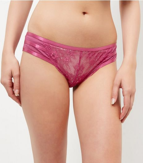 Pink Strappy Back Lace Brazilian Briefs | New Look