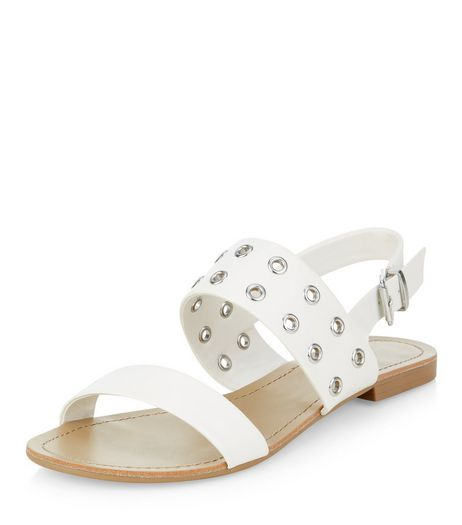 Wide Fit White Eyelet Two Part Sandals  | New Look