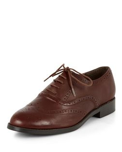 Wide Fit Dark Brown Leather Brogues  | New Look