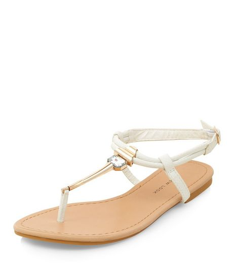Wide Fit White Gem T-Bar Sandals  | New Look